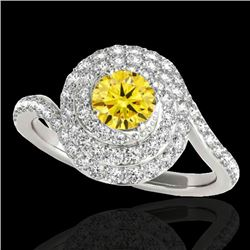 1.86 CTW Certified Si/I Fancy Intense Yellow Diamond Solitaire Halo Ring 10K White Gold - REF-245F5N