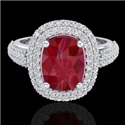 3.50 CTW Ruby & Micro Pave VS/SI Diamond Halo Ring 18K White Gold - REF-143T6M - 20721