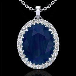 2.75 CTW Sapphire & Micro VS/SI Diamond Halo Solitaire Necklace 18K White Gold - REF-60A2X - 20598