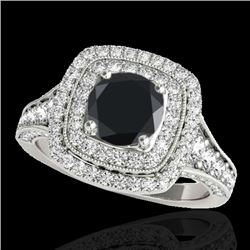 2 CTW Certified VS Black Diamond Solitaire Halo Ring 10K White Gold - REF-114T5M - 33655