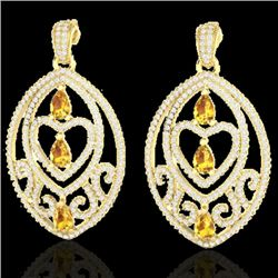 7 CTW Yellow Sapphire & Micro Pave VS/SI Diamond Heart Earrings 18K Yellow Gold - REF-381T8M - 21167