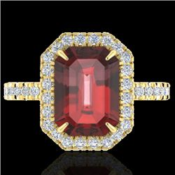6.03 CTW Garnet And Micro Pave VS/SI Diamond Halo Ring 18K Yellow Gold - REF-62H2A - 21429