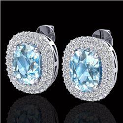 6 CTW Sky Blue Topaz & Micro Pave VS/SI Diamond Halo Earrings 10K White Gold - REF-95X3T - 20112