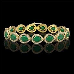 30.06 CTW Emerald & Diamond Halo Bracelet 10K Yellow Gold - REF-393W3F - 41236
