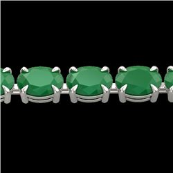 29 CTW Emerald Eternity Designer Inspired Tennis Bracelet 14K White Gold - REF-180M2H - 23387