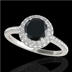 2.15 CTW Certified VS Black Diamond Solitaire Halo Ring 10K White Gold - REF-87K3W - 33682