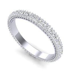 2.50 CTW VS/SI Diamond Art Deco Eternity Men's Band Size 10 18K White Gold - REF-200T2M - 37208