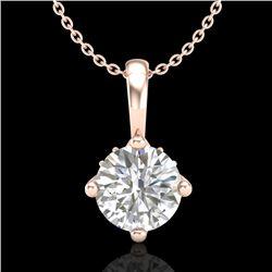 0.82 CTW VS/SI Diamond Solitaire Art Deco Stud Necklace 18K Rose Gold - REF-180T2M - 37026