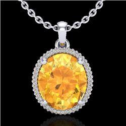 10 CTW Citrine & Micro Pave VS/SI Diamond Halo Necklace 18K White Gold - REF-75W5F - 20607
