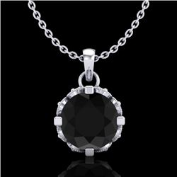 1.14 CTW Fancy Black Diamond Solitaire Art Deco Stud Necklace 18K White Gold - REF-81N8Y - 37373