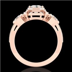 1.01 CTW VS/SI Diamond Solitaire Art Deco 3 Stone Ring 18K Rose Gold - REF-200A2X - 36882