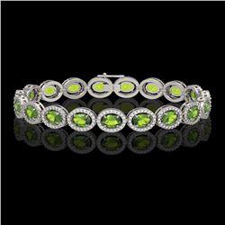 13.87 CTW Peridot & Diamond Halo Bracelet 10K White Gold - REF-251M6H - 40478