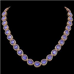44.8 CTW Tanzanite & Diamond Halo Necklace 10K Rose Gold - REF-1134F9N - 41196