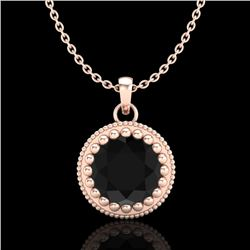 1 CTW Fancy Black Diamond Solitaire Art Deco Stud Necklace 18K Rose Gold - REF-50N9Y - 37486