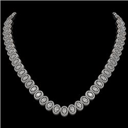 34.72 CTW Oval Diamond Designer Necklace 18K White Gold - REF-6267H8A - 42758