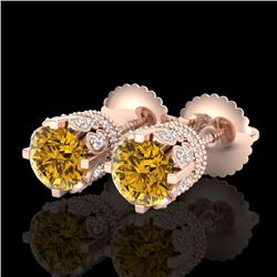 1.75 CTW Intense Fancy Yellow Diamond Art Deco Stud Earrings 18K Rose Gold - REF-172W8F - 37358