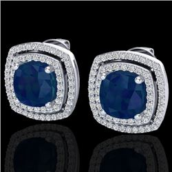 4.95 CTW Sapphire & Micro Pave VS/SI Diamond Halo Earrings 18K White Gold - REF-125N5Y - 20171