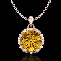 1.36 CTW Intense Fancy Yellow Diamond Art Deco Stud Necklace 18K Rose Gold - REF-180W2F - 38107