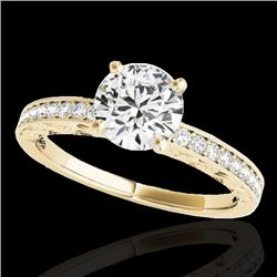 1.18 CTW H-SI/I Certified Diamond Solitaire Antique Ring 10K Yellow Gold - REF-174T5M - 34605