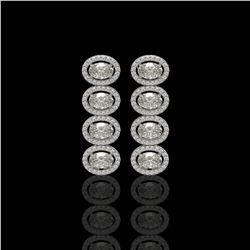 5.33 CTW Oval Diamond Designer Earrings 18K White Gold - REF-982H4A - 42764