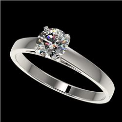 0.78 CTW Certified H-SI/I Quality Diamond Solitaire Engagement Ring 10K White Gold - REF-97X5T - 364