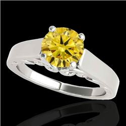 1 CTW Certified Si/I Fancy Intense Yellow Diamond Solitaire Ring 10K White Gold - REF-209K3W - 35144