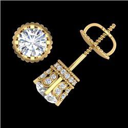 1.75 CTW VS/SI Diamond Solitaire Art Deco Stud Earrings 18K Yellow Gold - REF-249M3H - 36835