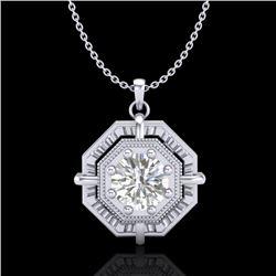 0.75 CTW VS/SI Diamond Solitaire Art Deco Stud Necklace 18K White Gold - REF-202K5W - 36878