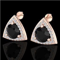 3.50 CTW Micro Pave Halo Black VS/SI Diamond Stud Earrings 14K Rose Gold - REF-104Y2K - 20182