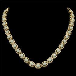 32.42 CTW Opal & Diamond Halo Necklace 10K Yellow Gold - REF-670X8T - 40570