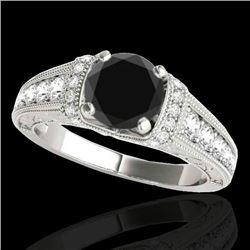 1.5 CTW Certified VS Black Diamond Solitaire Antique Ring 10K White Gold - REF-77W6F - 34777