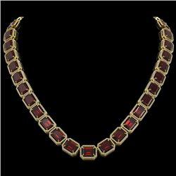 73.44 CTW Garnet & Diamond Halo Necklace 10K Yellow Gold - REF-696N2Y - 41521