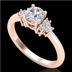 0.75 CTW VS/SI Diamond Ring 18K Rose Gold - REF-131T3M - 36933