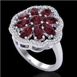 3 CTW Garnet & VS/SI Diamond Cluster Designer Halo Ring 10K White Gold - REF-52Y2K - 20782