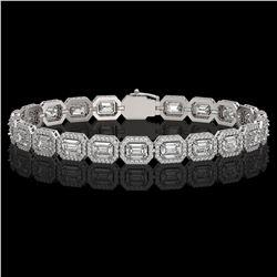 14.57 CTW Emerald Cut Diamond Designer Bracelet 18K White Gold - REF-3045H6A - 42662