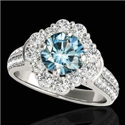 2.16 CTW Si Certified Fancy Blue Diamond Solitaire Halo Ring 10K White Gold - REF-221K8W - 33954