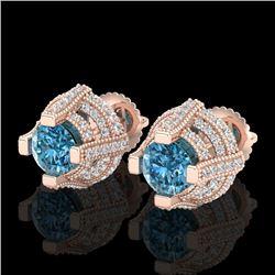 2.75 CTW Fancy Intense Blue Diamond Micro Pave Stud Earrings 18K Rose Gold - REF-236M4H - 37629