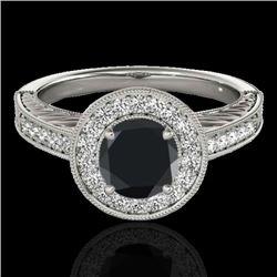 1.5 CTW Certified VS Black Diamond Solitaire Halo Ring 10K White Gold - REF-75K3W - 33745