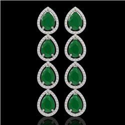 16.01 CTW Emerald & Diamond Halo Earrings 10K White Gold - REF-212K8W - 41282