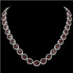 36.8 CTW Garnet & Diamond Halo Necklace 10K White Gold - REF-592W9F - 41231