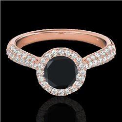 1.4 CTW Certified VS Black Diamond Solitaire Halo Ring 10K Rose Gold - REF-63Y5K - 33302