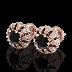 2.01 CTW Fancy Black Diamond Art Deco Micro Pave Stud Earrings 18K Rose Gold - REF-143Y6K - 37731