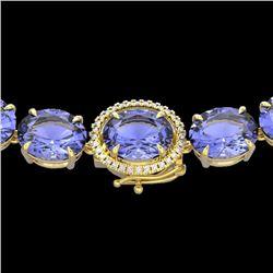 170 CTW Tanzanite & VS/SI Diamond Halo Micro Eternity Necklace 14K Yellow Gold - REF-3163A6X - 22318