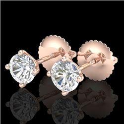 0.65 CTW VS/SI Diamond Solitaire Art Deco Stud Earrings 18K Rose Gold - REF-97M3H - 37296