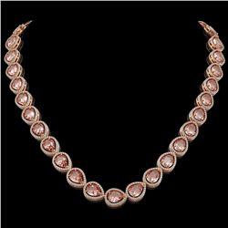 41.6 CTW Morganite & Diamond Halo Necklace 10K Rose Gold - REF-1024M4H - 41199