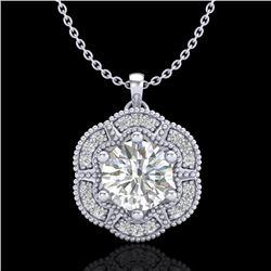 1.01 CTW VS/SI Diamond Solitaire Art Deco Stud Necklace 18K White Gold - REF-245H5A - 37109