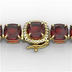 35 CTW Garnet & Micro VS/SI Diamond Halo Designer Bracelet 14K Yellow Gold - REF-134K2W - 23311