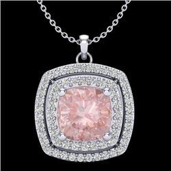 1.97 CTW Morganite & Micro VS/SI Diamond Halo Necklace 18K White Gold - REF-78F5N - 20460