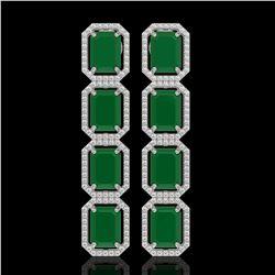 20.59 CTW Emerald & Diamond Halo Earrings 10K White Gold - REF-248X2T - 41570