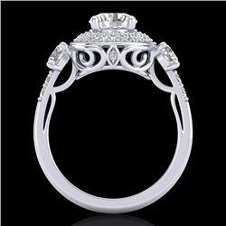 2.05 CTW VS/SI Diamond Solitaire Art Deco 3 Stone Ring 18K White Gold - REF-490T9M - 37262